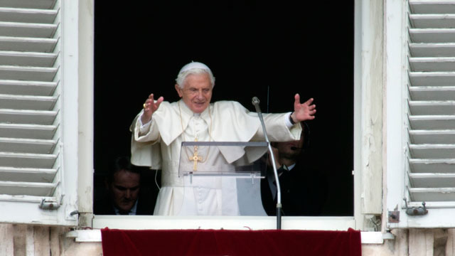 PHOTO:Pope Benedict XVI delivers his blessing during his last Angelus noon prayer, from the window of his studio overlooking St. Peters Square, at the Vatican, Sunday, Feb. 24, 2013.