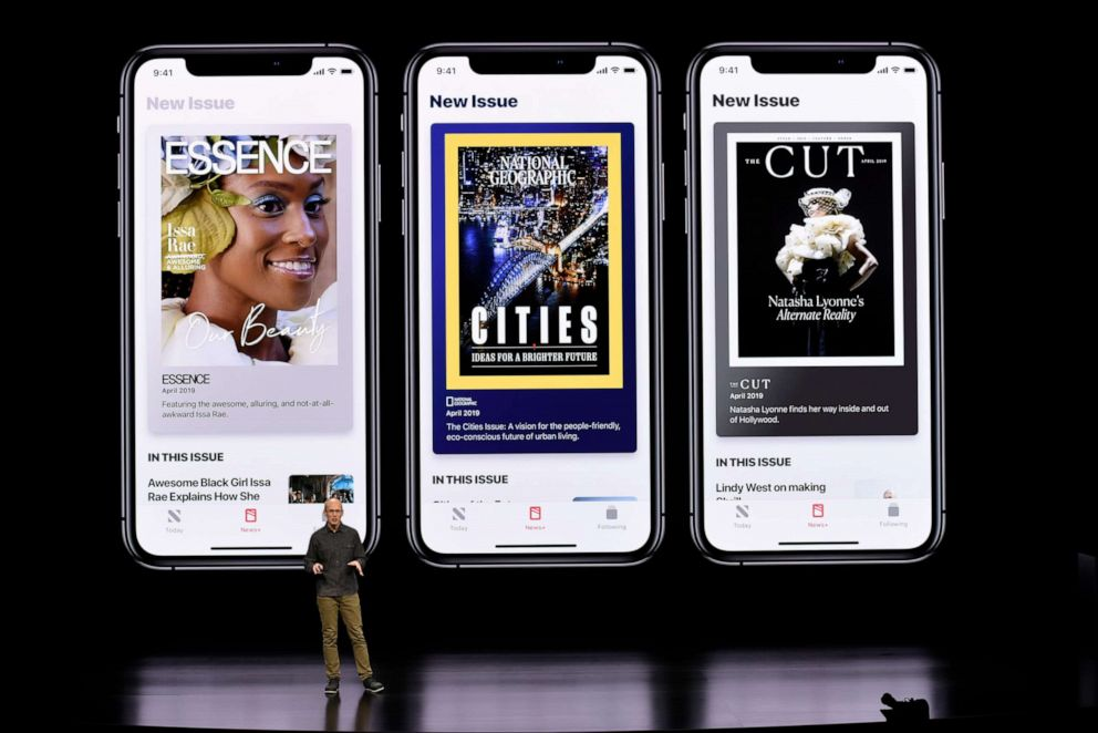 PHOTO: Roger Rosner, vice president of applications at Apple Inc., speaks during the launch of their new video streaming service, and unveiled a premium subscription tier to its News app, March 25, 2019, in Cupertino, Calif.