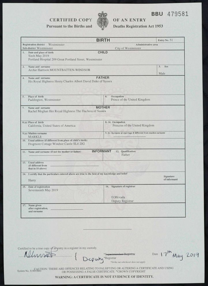 PHOTO: A copy of the birth certificate of Archie Harrison Mountbatten-Windsor, son of Britains Prince Harry and Meghan, the Duchess of Sussex, in London, Friday May 17, 2019.