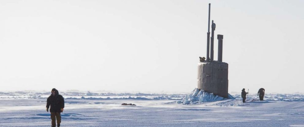 PHOTO: Seawolf class submarine USS Connecticut SSN 22 breaks though the ice March 9, 2018 in support of Ice Exercise (ICEX) 2018.