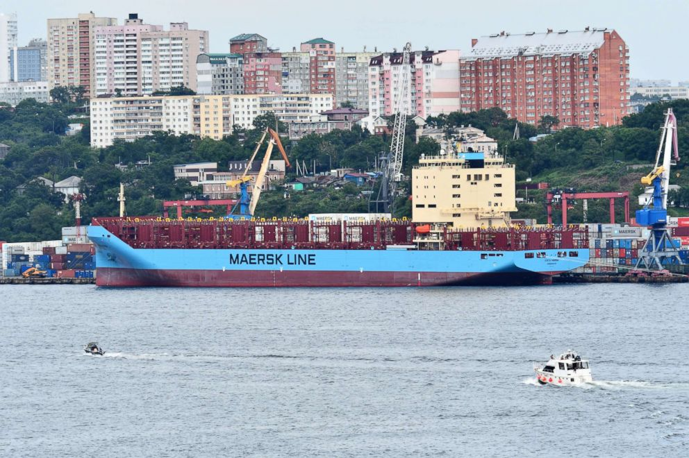 PHOTO: The Venta Maersk in the Russian port of Vladivostok as it prepares to set off on its Arctic voyage, Russia Aug. 22, 2018.