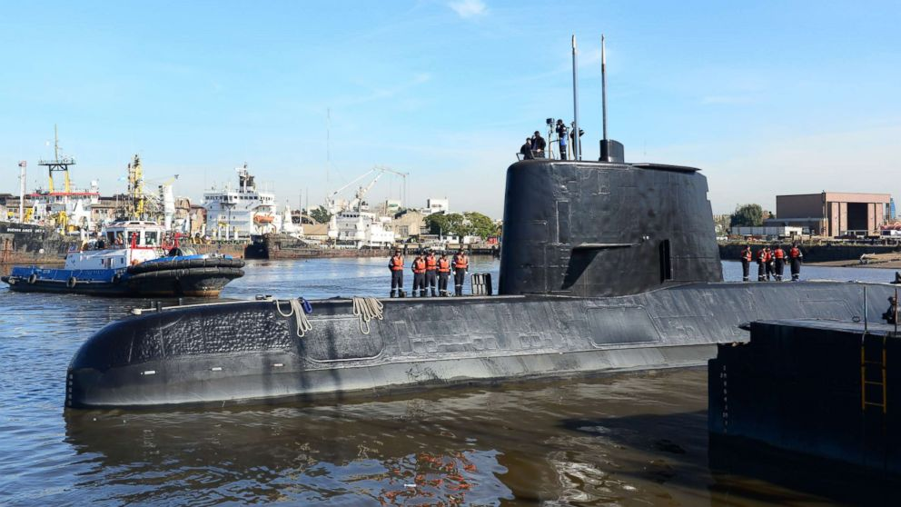 An undated handout photo made available by the Argentine Navy on Nov. 17, 2017 shows the ARA San Juan submarine. The Argentine Navy said it has lost contact with the the submarine off the country's southern coast. The submarine with a crew of 44 has not made contact in 48 hours.  Navy ships and aircraft are searching the area of last known location.