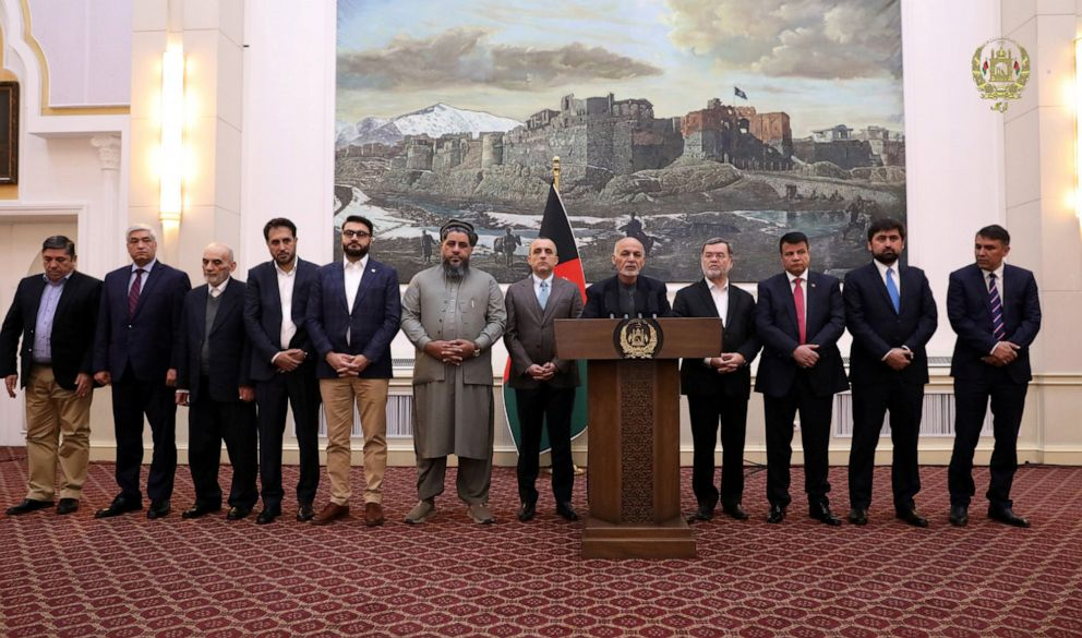 PHOTO: Afghanistan President Ashraf Ghani speaks about the release of two senior Taliban commanders and a leader of the Haqqani militant group in exchange for an American and an Australian who were kidnapped in 2016, in Kabul, Afghanistan, Nov. 12, 2019.