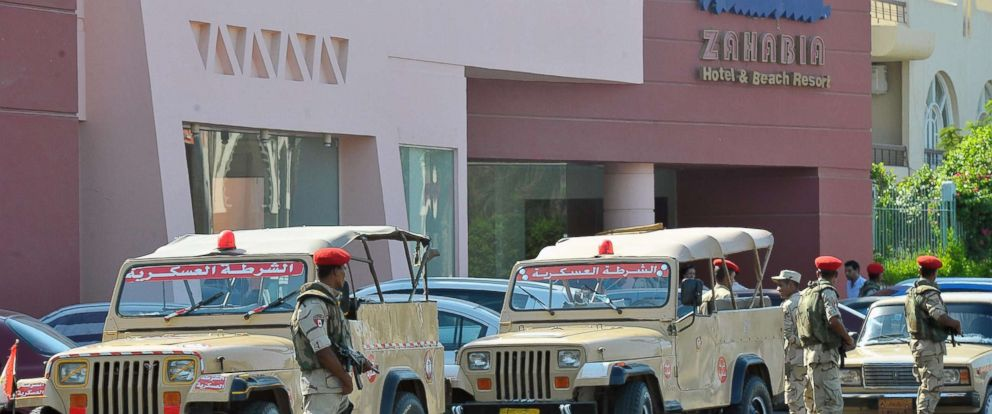 PHOTO: Egyptian military personnel are stationed outside one of the two beach resorts were a stabbing attack occurred, in Hurghada, Egypt, July 14, 2017.