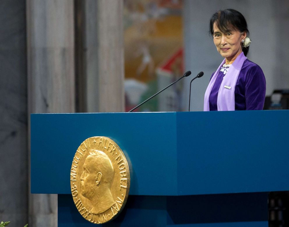 PHOTO: Myanmar democracy icon Aung San Suu Kyi delivers her Nobel speech during the Nobel ceremony at Oslos City Hall, June 16, 2012.