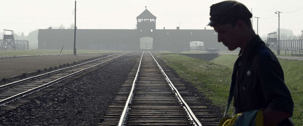 PHOTO: A man crosses the iconic train rails leading to the former Nazi death camp of Auschwitz-Birkenau in Poland, July 29, 2016.