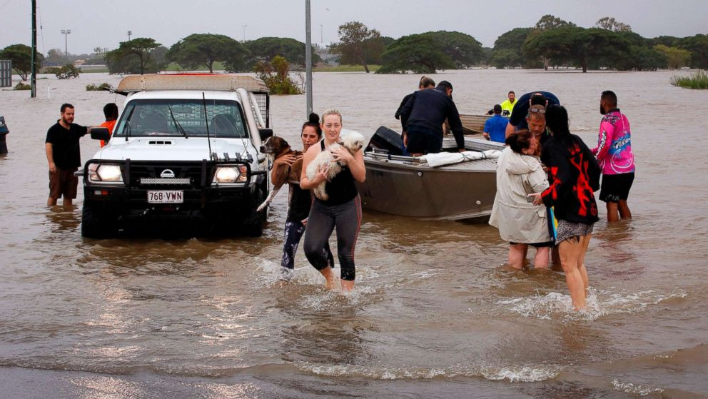PHOTO: Flood-affected people are evacuated from Townsville, Feb. 4, 2019, as the recent downpour in Australia.