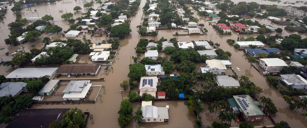 PHOTO: An aerial view shows houses inundated with flood waters in Townsville, Queensland, Australia, Feb. 4, 2019.