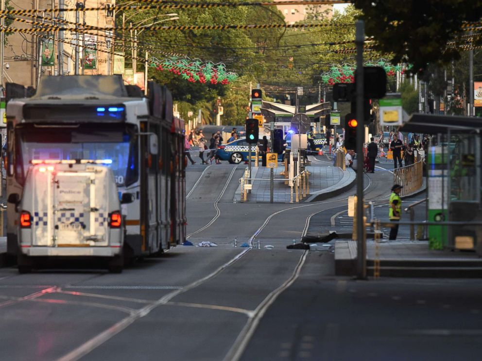 PHOTO: Debris sits in the middle of the road at the scene where a car ran over pedestrians in Melbourne, Australia, Dec. 21, 2017.