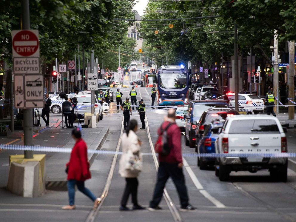 PHOTO: Policemen guard at the site where a man attacked others in Melbourne, Australia, Nov. 9, 2018.
