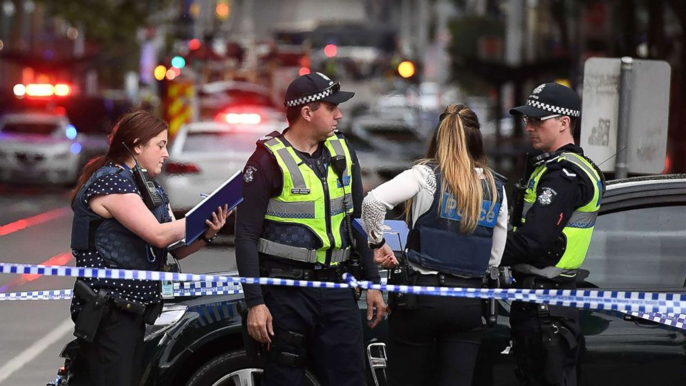 Police work at the crime scene following a stabbing incident in Melbourne, Australia, Nov. 9, 2018.