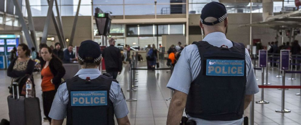 PHOTO: Australian Federal Police Officers patrol Sydney Airport, July 31, 2017 in Sydney, Australia.