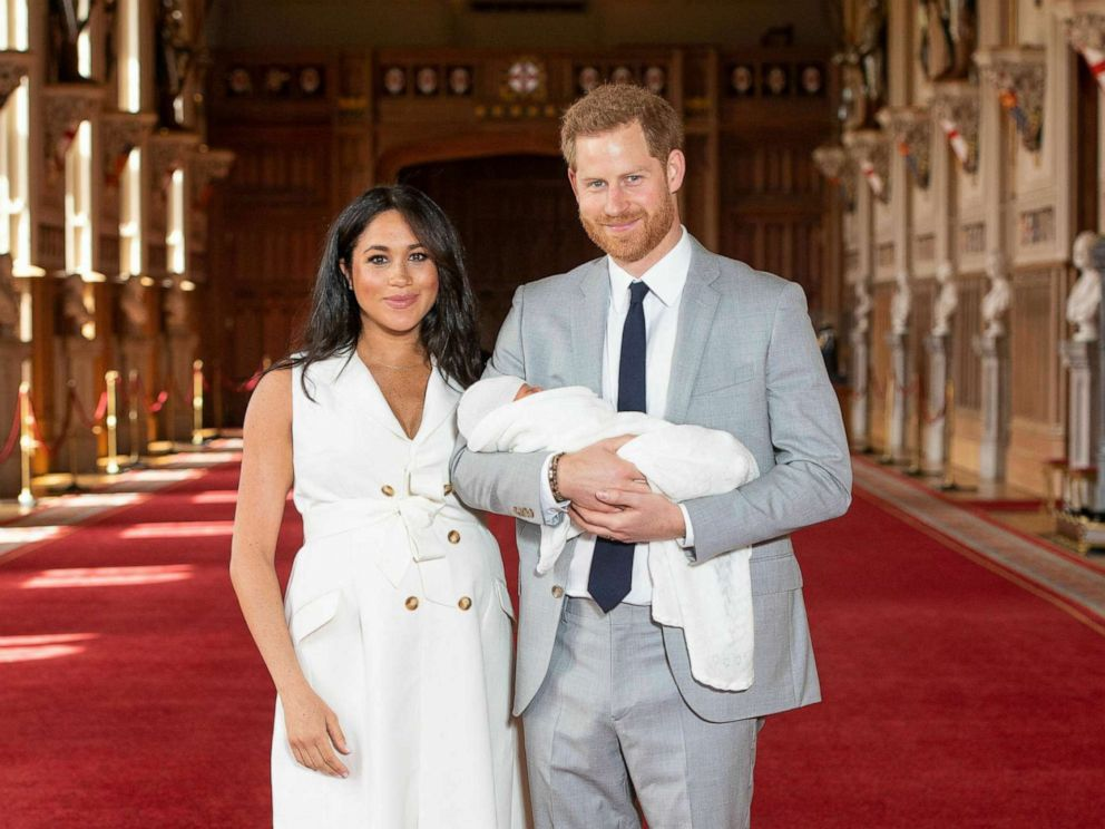 PHOTO: Prince Harry and Meghan, Duchess of Sussex, during a photocall with their newborn son, in St Georges Hall at Windsor Castle, Windsor, England, May 8, 2019.