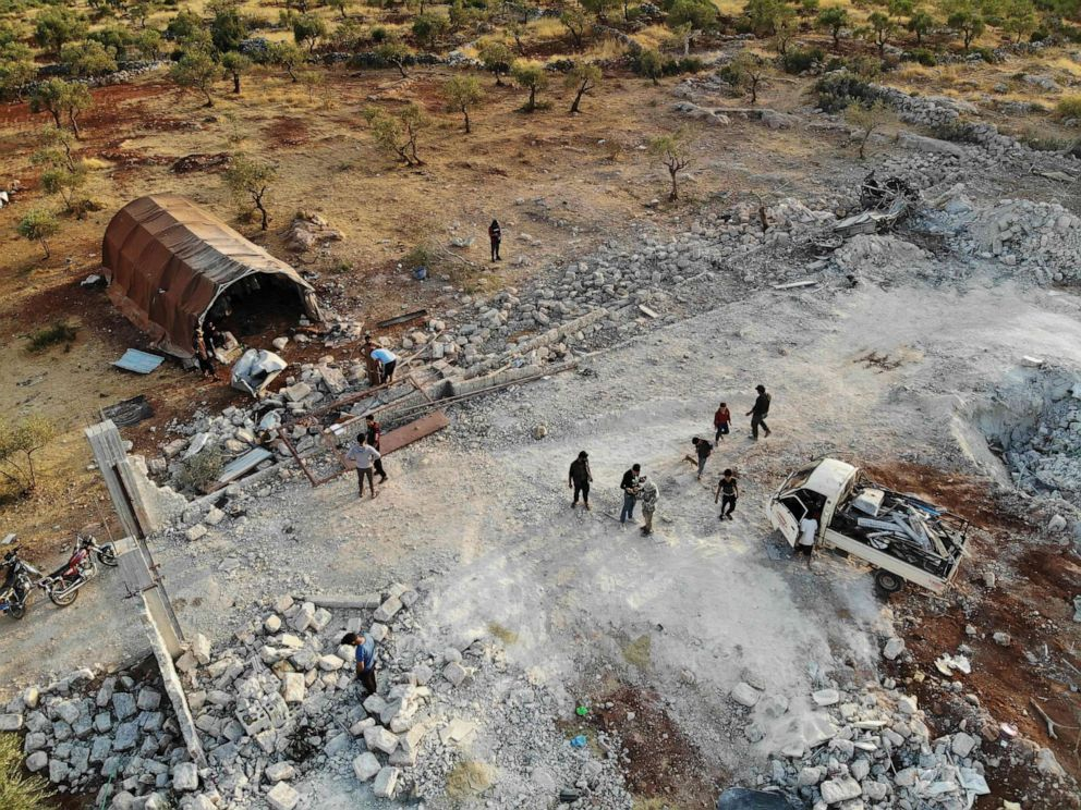 PHOTO: An aerial view taken on October 27, 2019, shows the site that was hit by helicopter gunfire which reportedly killed nine people near the northwestern Syrian village of Barisha in the Idlib province along the border with Turkey.