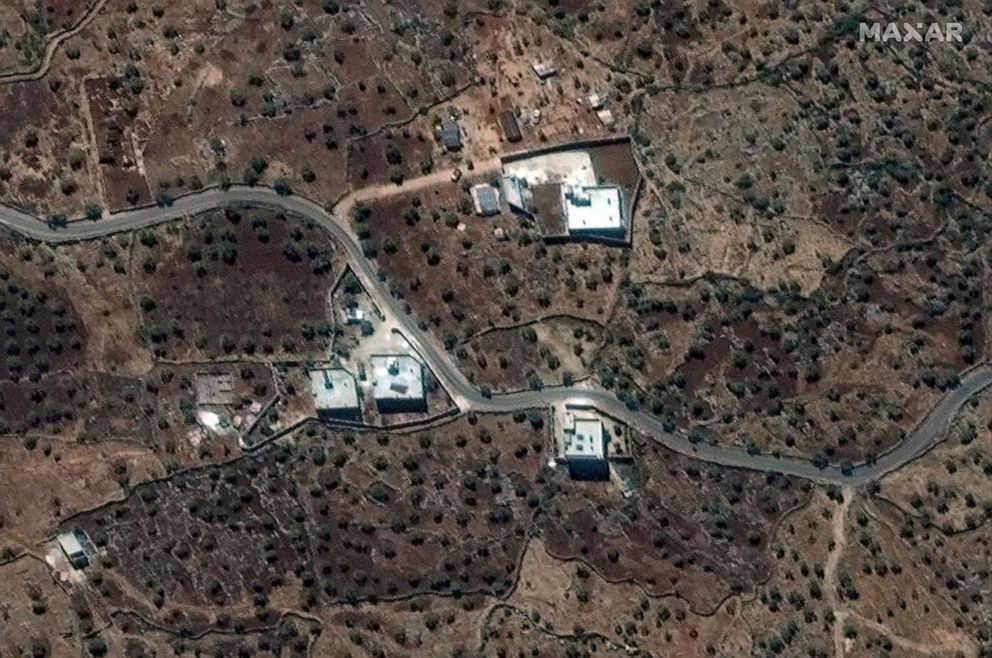 PHOTO: A satellite view of the reported residence of ISIS leader, Abu Bakr al-Baghdadi, collected on September 28, 2019, is shown in this handout image released on October 27, 2019 by Maxar Technologies.