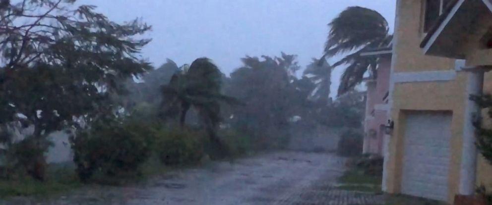 PHOTO: Strong winds batter Oceanhill Boulevard in Freeport as Hurricane Dorian passes over Grand Bahama Island, Bahamas, Sept. 2, 2019.