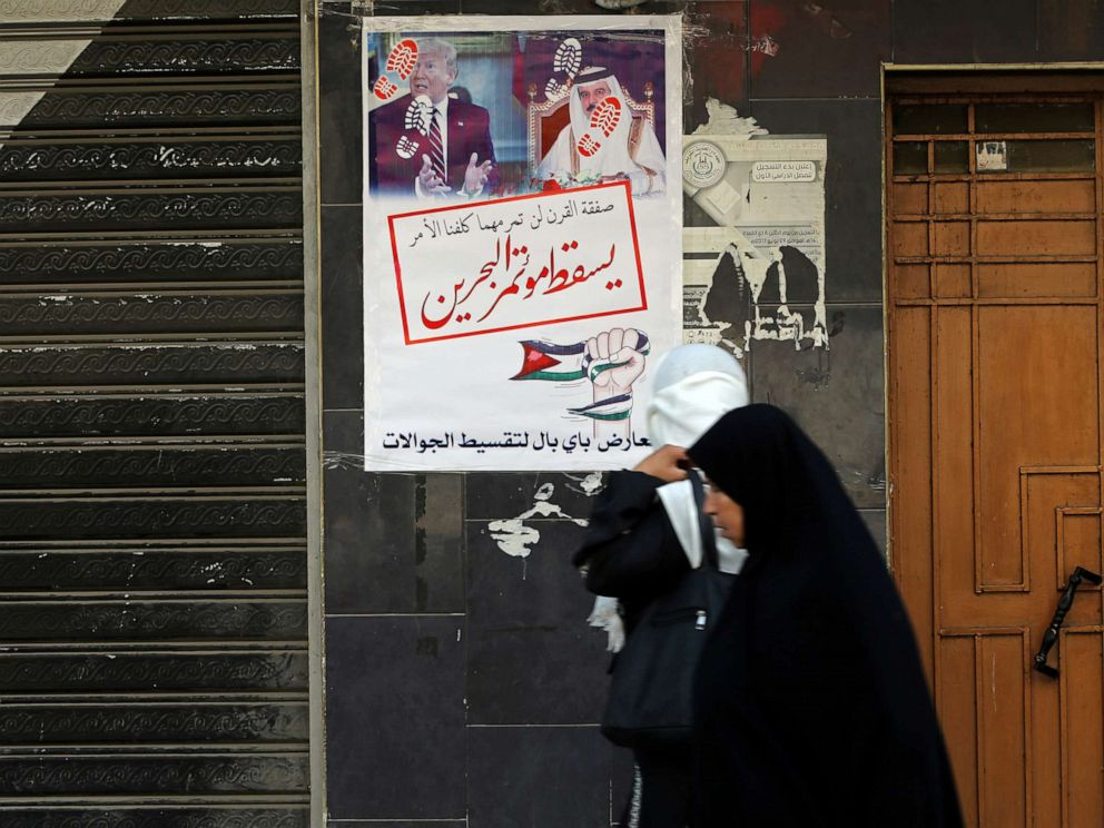 PHOTO: Women walk past banners showing pictures of Bahrains King Hamad bin Isa Al Khalifa and U.S. President Donald Trump, reading down with the Bahrain conference, in Khan Younis in the southern Gaza Strip, June 25, 2019.