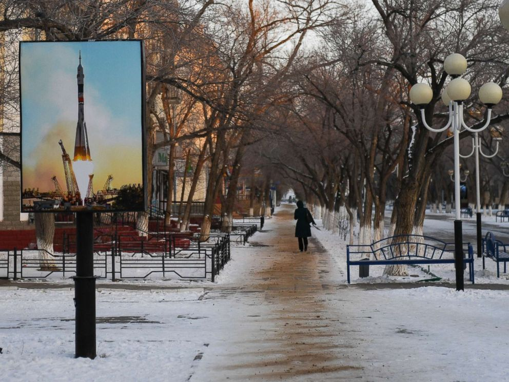 PHOTO: A poster of a rocket is seen in Korolyov Prospekt in Baikonur, Kazakhstan, Dec. 14, 2017.