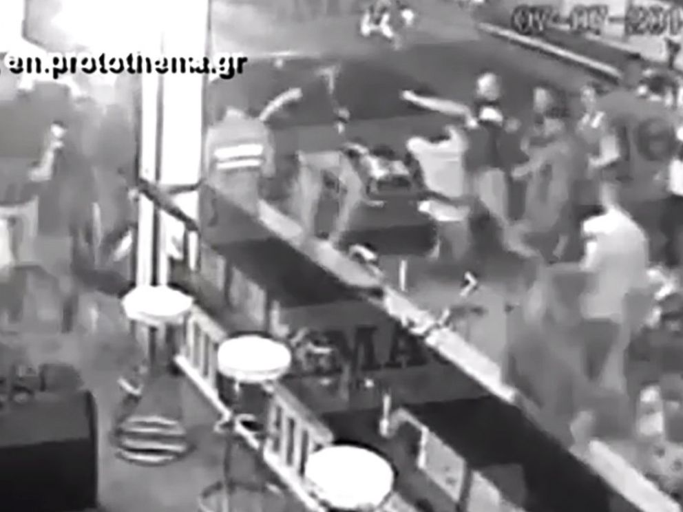 PHOTO: Surveillance video shows a brawl on the Greek Island of Zakynthos where American Bakari Henderson, 22, was killed, July 7, 2017.