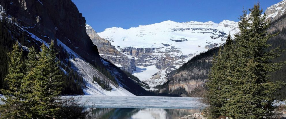 PHOTO: Ice still covers the water at Lake Louise in Banff National Park on May 20, 2015.