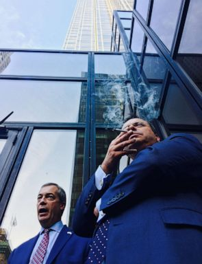 PHOTO: Nigel Farage and Arron Banks pictured outside Trump Tower on November 10th, 2016.
