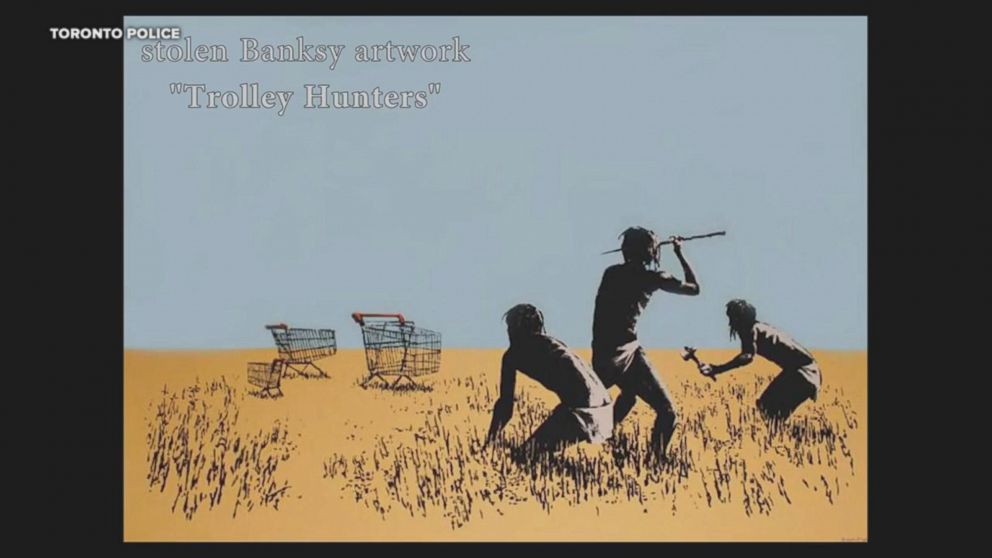 PHOTO: Toronto Police released this photo of an original Banksy print called Trolley Hunters from a Toronto art exhibit that was stolen, June 9, 2018.  Banksy print worth $45K stolen from Toronto art exhibit, caught on camera banksy3 ht ml 180615 hpEmbed 16x9 992