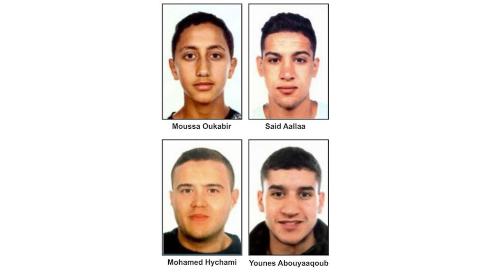 Suspects in the Barcelona attacks, from left, Moussa Oukabir, the suspected driver, as well as Said Aallaa, Mohamed Hychami and Younes Abauyaaqoub, are wanted in connection with the Aug. 17 terrorist attacks in the Catalonian cities of Barcelona and Cambrils.