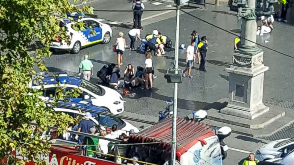 Spanish authorities confirm people are injured after a truck reportedly hit people on a busy Barcelona street, Aug. 17. 2017.