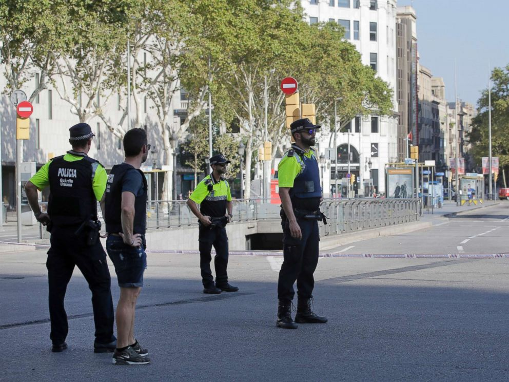 PHOTO: Police officers cordon off a street in Barcelona, Aug. 17, 2017.