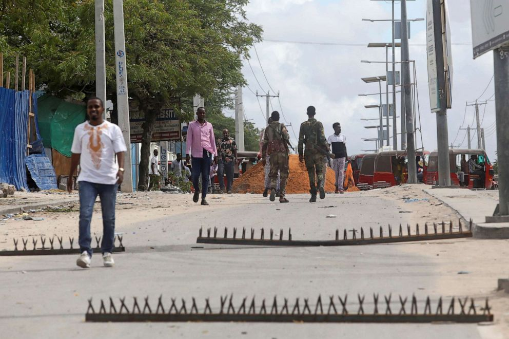 PHOTO: Metal spikes set up as barricades by Somali troops supporting opposition leaders are seen on a road near the KM4 junction in the Hodan district of Mogadishu, Somalia, on April 26, 2021.