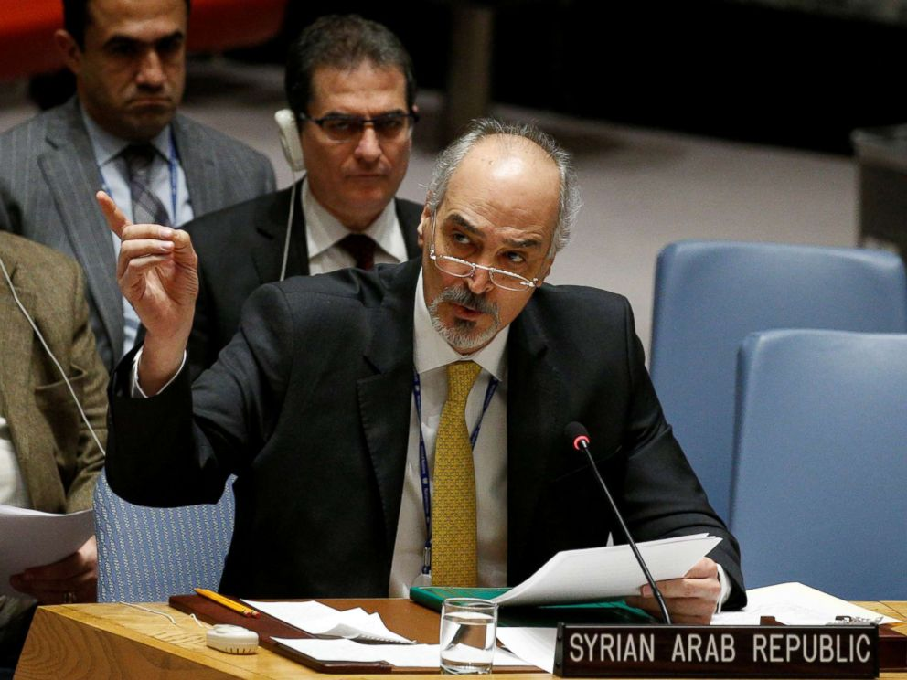 PHOTO: Syrian Arab Republic Ambassador to the United Nations Bashar Jaafari speaks during a United Nations Security Council meeting on Syria at the United Nations headquarters in New York, Feb. 22, 2018.
