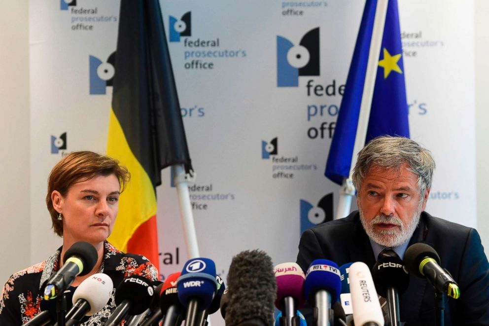 PHOTO: Belgian Federal magistrates Wenke Roggen (L) and Eric Van der Sypt (R) speak during a press conference on May 29s shooting in Liege, in Brussels, May 30, 2018.