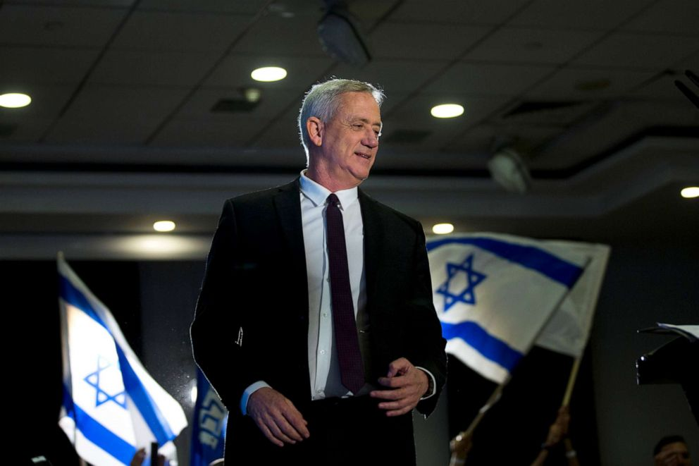Retired Israeli general Benny Gantz, one of the leaders of the Blue and White party, prepares to deliver a speech during election campaigning for elections,  March 27, 2019, in Ramat Gan, Israel.