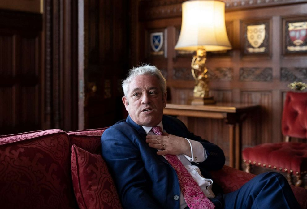 PHOTO: British politician, John Bercow MP, Speaker of the House of Commons conducts an interview inside the House of Commons on May 24, 2019 in London, England.