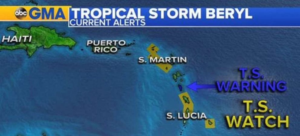 A tropical storm warning is in effect for Dominica and Guadeloupe, while surrounding islands have tropical storm watches.