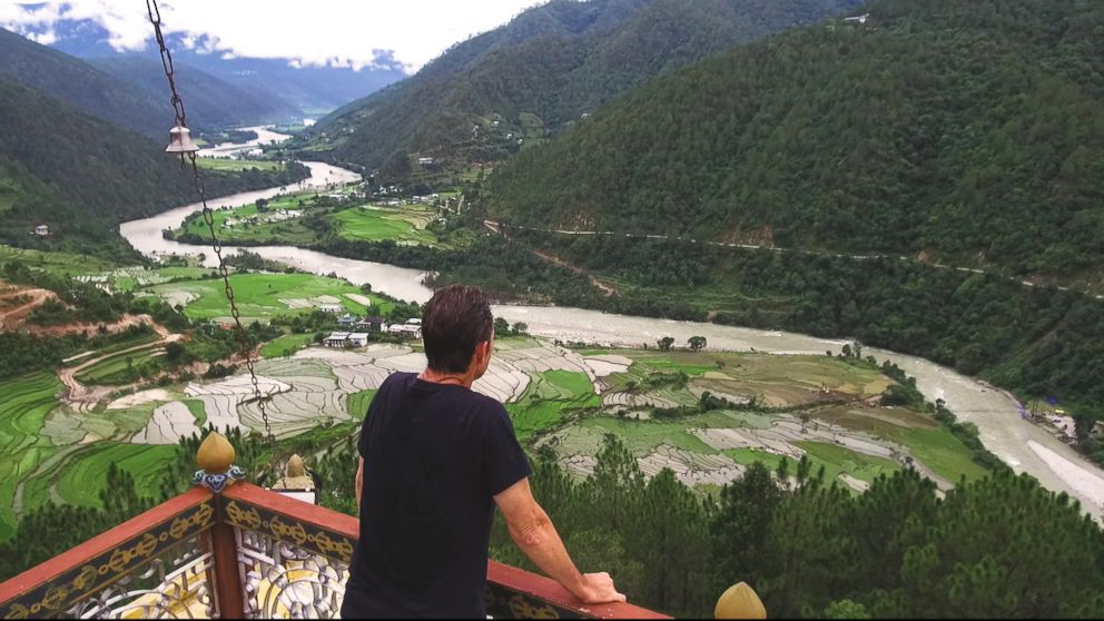 PHOTO: ABC News Bob Woodruff overlooking the freeflowing Mo Chuu or Female River in Bhutan which flows towards Punakha, the ancient seat Bhutanese seat of power.