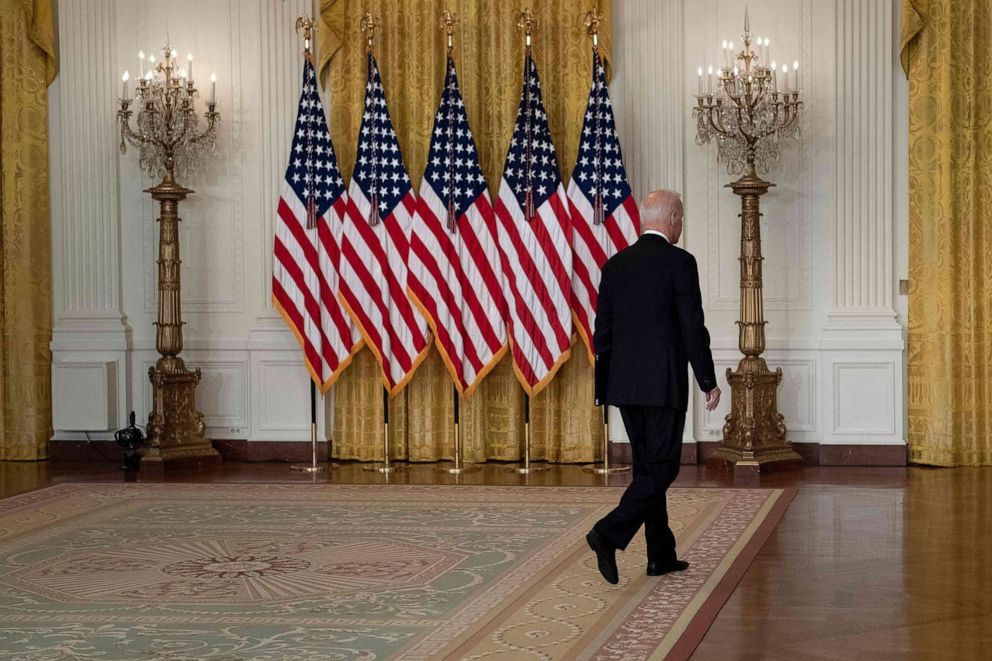 PHOTO: President Joe Biden leaves after speaking about the Taliban's takeover of Afghanistan from the East Room of the White House, Aug. 16, 2021, in Washington.