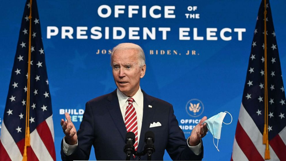PHOTO: President-elect Joe Biden speaks during a press conference at The Queen, Nov. 16, 2020, in Wilmington, Del.