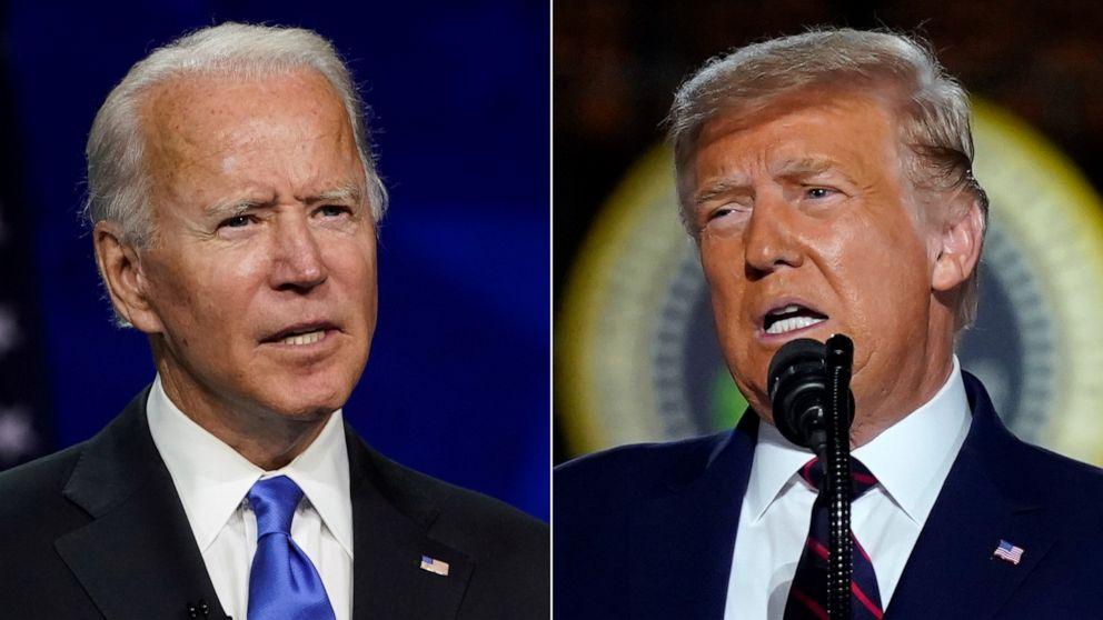 ẢNH: Cựu Phó Tổng thống Joe Biden, bên trái, chấp nhận đề cử tổng thống của đảng Dân chủ năm 2020, ngày 20 tháng 8 năm 2020. Ở bên phải, Tổng thống Donald Trump phát biểu chấp nhận đề cử tổng thống của đảng Cộng hòa, ngày 27 tháng 8 năm 2020, tại Washington.