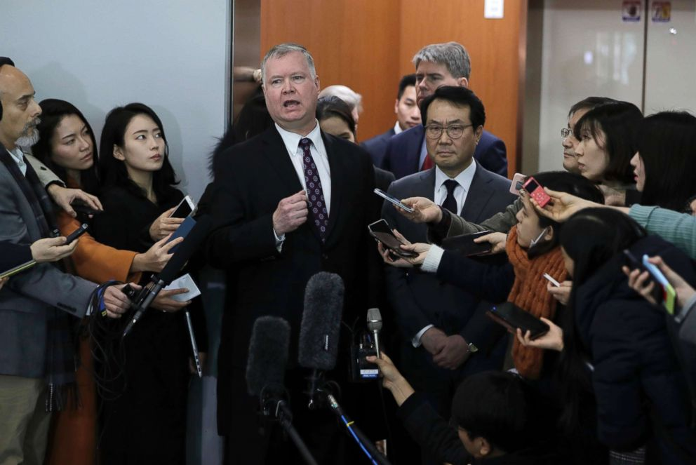 U.S. Special Representative for North Korea Stephen Biegun speaks to the media at the Foreign Ministry in Seoul, South Korea, Dec. 21, 2018.