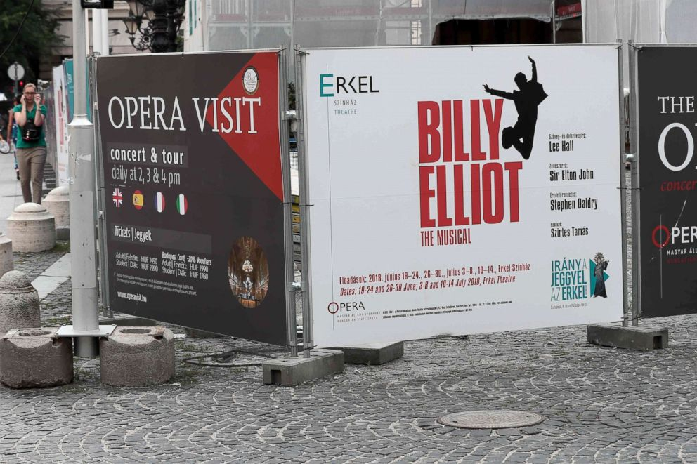 PHOTO: Placards of the Hungarian National Opera in Budapest are pictured, June 21, 2018.