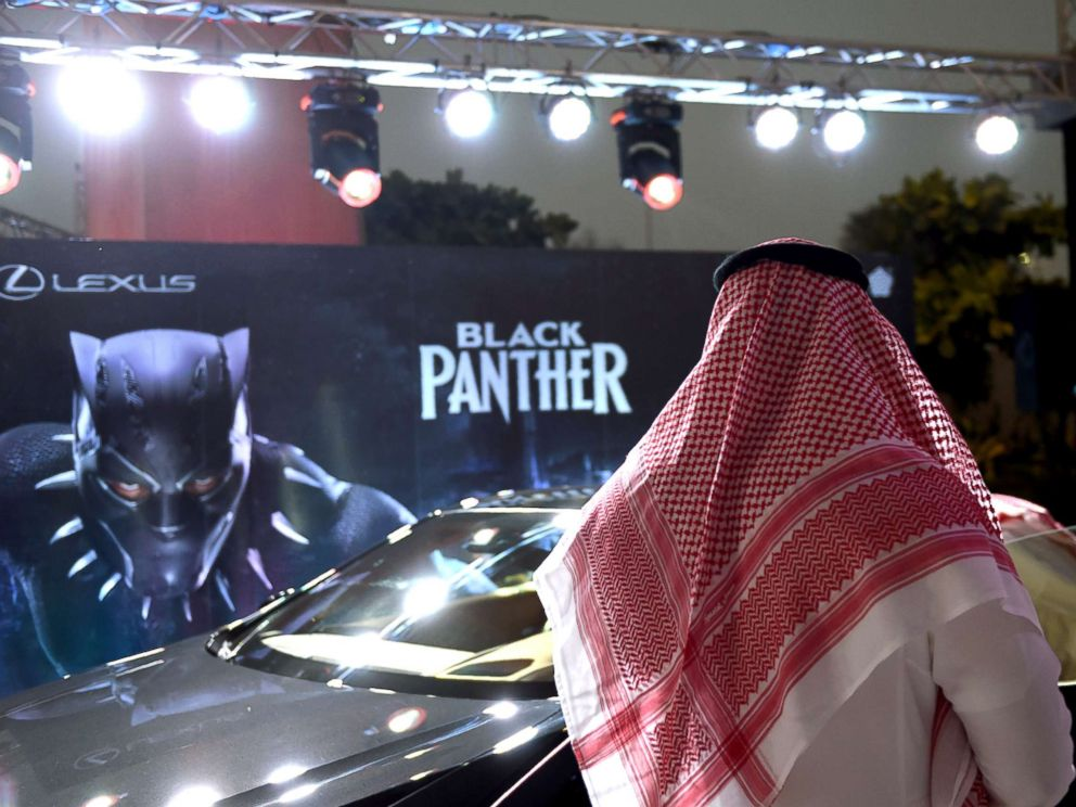 PHOTO: A Saudi man looks at a car during a cinema test screening in Riyadh, Saudi Arabia, April 18, 2018.