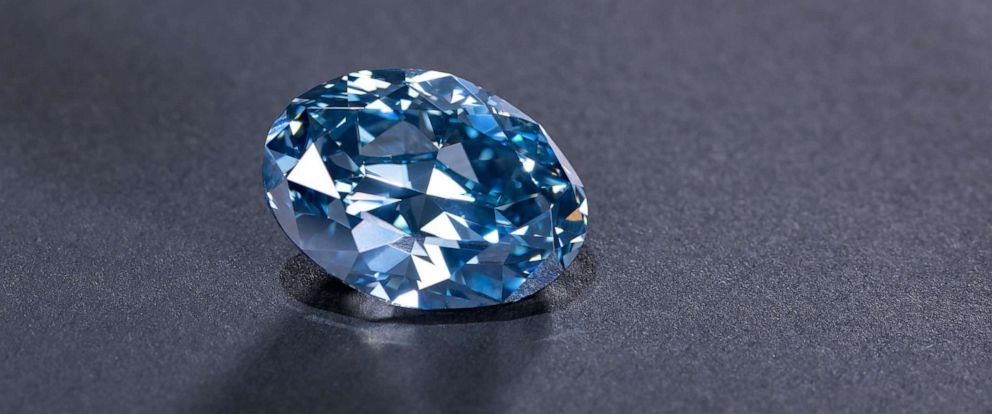 PHOTO: A rare blue diamond, weighing over 20 carats, was unveiled in Botswana on April 17, 2019.
