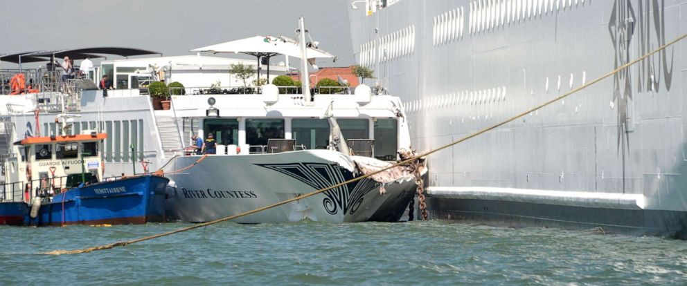 PHOTO: The cruise ship MSC Opera (R) is seen after the collision with a tourist boat, in Venice, Italy, June 2, 2019.