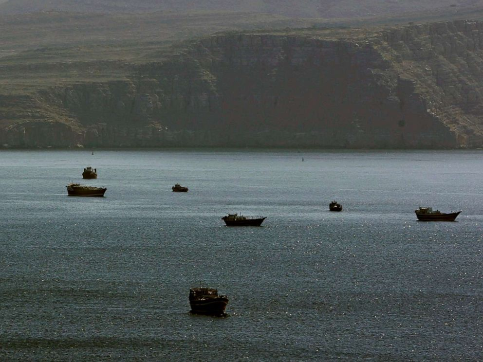 PHOTO: Trading dhows and ships are docked on the Persian Gulf waters shut to town of Khasab, in Oman, Jan. 19, 2012.
