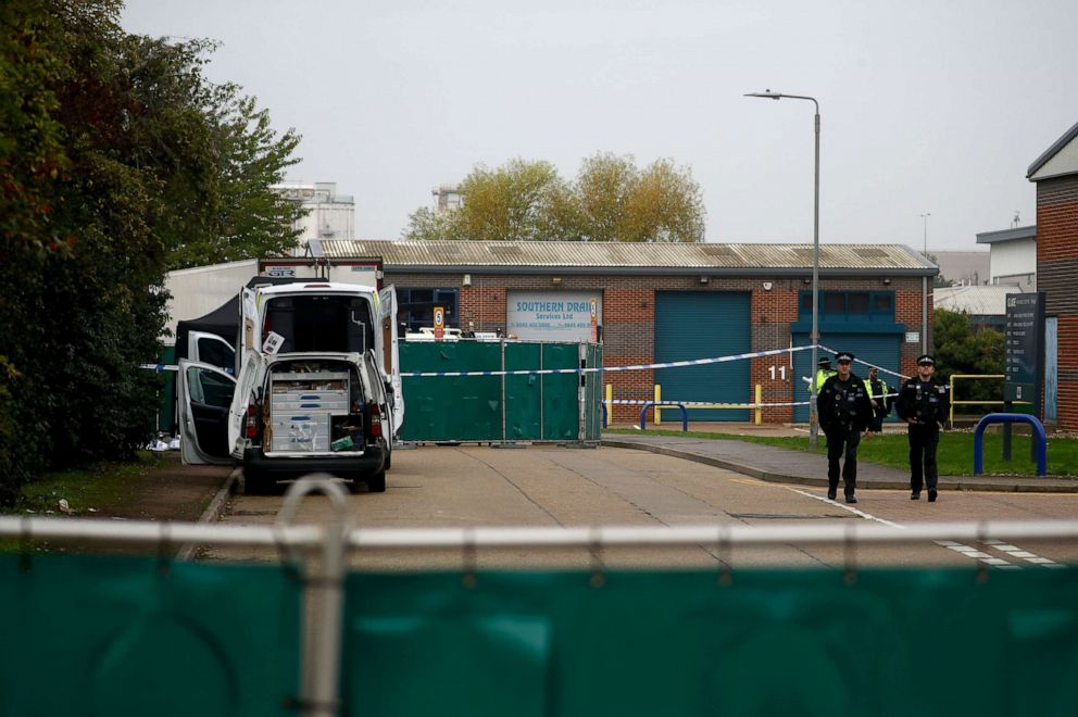 PHOTO: Police officers at the scene where bodies were discovered in a lorry container, in Grays, Essex, Britainm Oct. 23, 2019.
