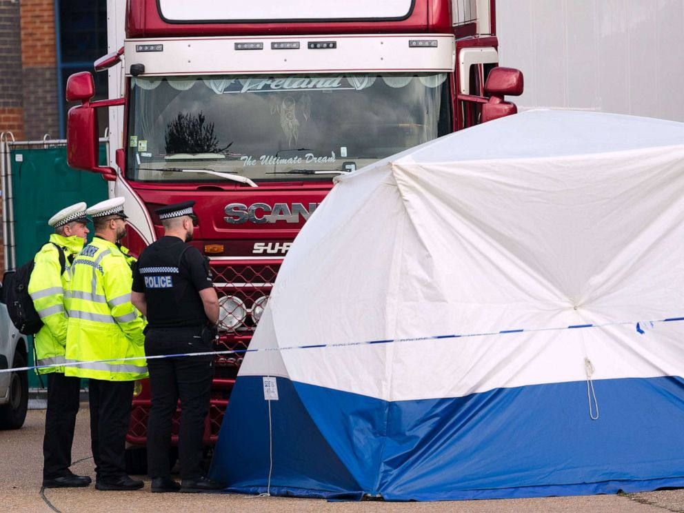 PHOTO: Police at the scene with the lorry at Waterglade Industrial Park in Grays, Essex, Britain, Oct, 23, 2019.