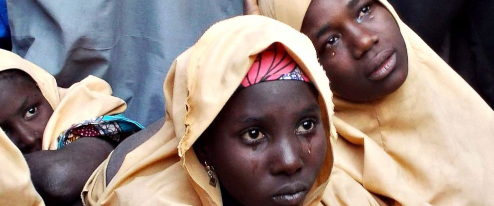 PHOTO: Some of the Dapchi schoolgirls are seen after being released by the Boko Harama in Jumbam village, Yobe State, Nigeria on March 21, 2018.