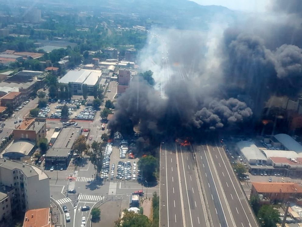 PHOTO: An aerial image provided by Italian firefighters shows smoke and flame after an explosion on a highway in the outskirts of Bologna, Italy, Aug. 6, 2018.