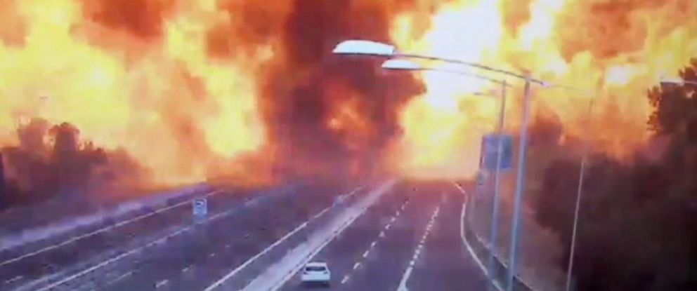 PHOTO: An image made from video shows the moment a truck carrying flammable substances exploded after colliding with another truck on a highway in the outskirts of Bologna, Italy, Aug. 6, 2018.